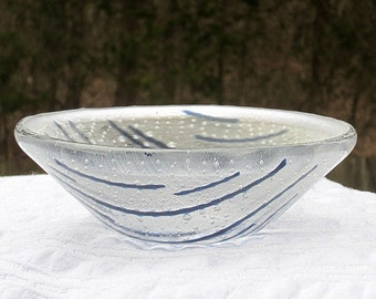 Small Clear and Blue Cone Shaped Bowl with Bubbles