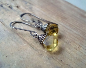 Citrine Teardrop Earrings Faceted Gemstone Oxidized Sterling Wire Wrapped November Birthstone Gifts Under 40 Modern Bridesmaid