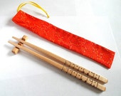 Gift Set - Personalized Chopsticks / Hairpins in Maple Wood - Carved to Order