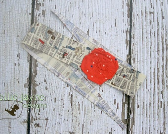 Central Park Whimsy Wrap Fabric Red Rose Headband