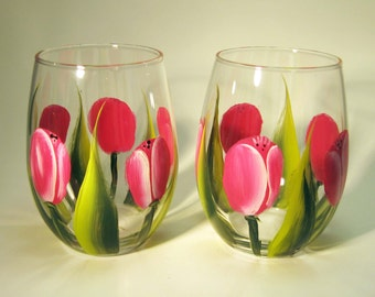 Pink Tulip Hand Painted Stemless Wine Glasses