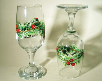 Hand Painted Flutes With Pine Boughs and Berries