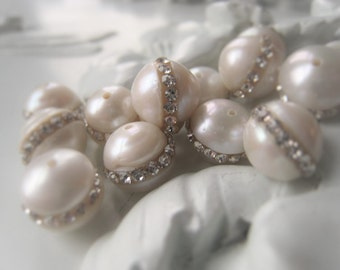 Freshwater Pearl Bead Pave Crystal Pearl Natural White Pearl Item No. 9767 2063