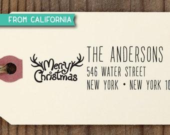 Merry Christmas Custom Self Inking Address Stamp, Custom Address Stamp, Gift Tag, Custom Stamper, Address Stamp, Christmas gift Holiday 18