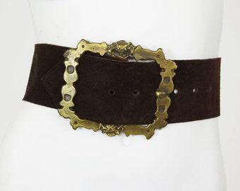 1970's Vintage Bohemian Statement Huge Buckle Wide Brown Suede Waist Belt Sz M-XL
