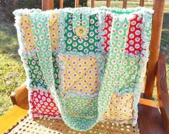 Flower Sugar Rag Quilt Tote - Colorful Tote - Flowers -Green Red Yellow - Handmade, Rag Quilt Handbag