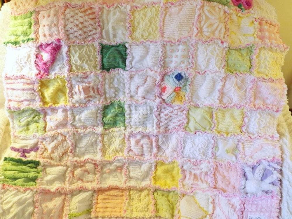 Vintage Chenille Baby Rag Quilt Baby Shower Gift Crib