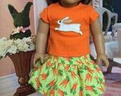 Easter Bunny Girl Doll clothes, 18 inch doll clothes 15 inch doll clothes Sequin Easter Bunny Carrot Glitter tulle skirt Satin Doll Headband