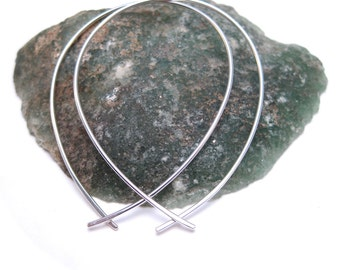Large Silver Hoop Earrings- Fish Shaped Hoops- Handmade Wire Hoops