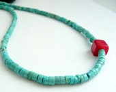 Artisan OOAK RARE Hand Cut Kingman Turquoise Heishe Bead Red Coral Sterling Silver Southwestern Tribal Boho Gift for Her Choker Necklace