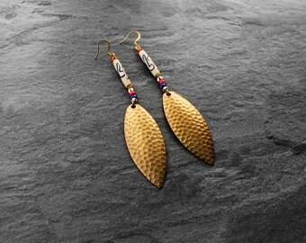 African Earrings, Tribal Earrings, Afrocentric Earrings, Brass Earrings, Afropunk, Kaya Tribal African Brass Earrings