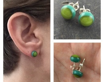 Teal and Lime Studs / Tiny Green Stud Earrings / Glass Stud Earrings / Fused Glass Jewelry / Glass Studs / Glass Jewelry / Gift for Women