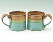 Pottery Hot Cocoa Mug - One Rustic Stoneware 12 oz Coffee Mug, Honey Brown & Glossy Jewel Blue Tea Mug - Office or Teacher Gift
