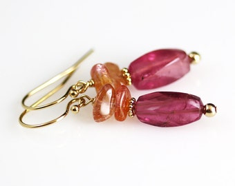 Pink Tourmaline Earrings - Gemstone Jewelry - Tourmaline Earrings - Tourmaline Jewelry