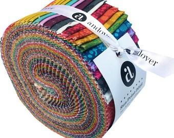 "15% Off + Free Ship SALE Andover SUN PRINT 2016 Strip Roll 2.5"" Precut Fabric Quilting Cotton Strips Jelly Alison Glass"