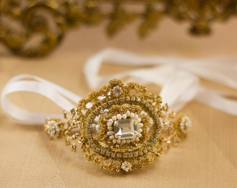 """Gold Crystal Bridal Bracelet 