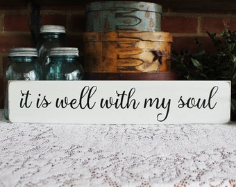 It is well with my Soul Wood Sign Handmade Faith Christian Wall Art Wall Decor Inspirational Saying
