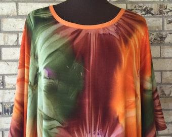 Plus Size Extra LongTie Dye Lightweight Rayon Tunic