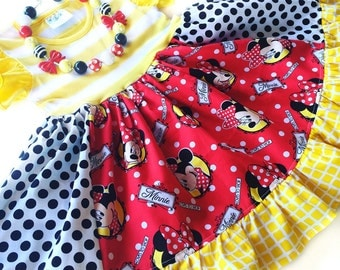 Minnie Mouse Disney dress, Momi boutique custom girls dress