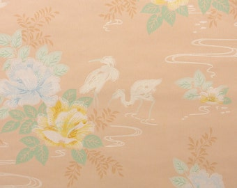 1950s Vintage Wallpaper by the Yard - White Swan and Blue and Yellow Waterlily on Beige