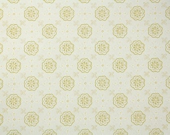 1950's Vintage Wallpaper - Green and Yellow Geometric on White