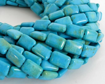 12mm Chalk Turquoise Rectangle Beads, 12mm Rectangle Chalk Turquoise - Full Strand Turquoise Beads, Turq206