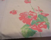"Vintage Red Floral Cutter Tablecloth 54"" X 66"""