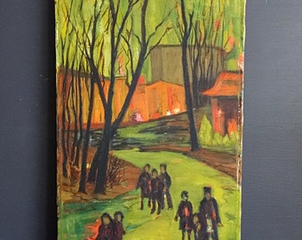Midcentury Original Painting Signed Vivid Colors