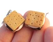 Smores Earrings, Food Jewelry, Miniature Food, Campfire Earrings, Food Earrings