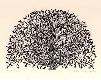 Art, Tree Art, Arched Tree Linocut Art Print, Hand Printed Art, Nature Art, Intricate Tree Print