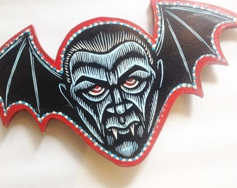 Vampire Woodcut -  Goth Art - Bela Lugosi Painting - Dracula Painting - Dracula Art - Classic Movie Art - Horror Movie Art