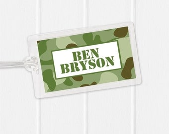 Camouflage Bag Tag  - Army Luggage Tag -Camo Diaper Bag Tag