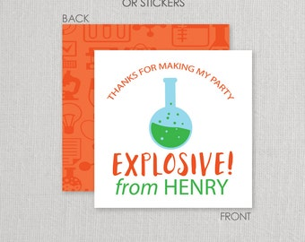 Science Favor Tags or Stickers . Mad Scientist Party . Science Birthday Party . for Favors, Treat Bags and Envelope Seals