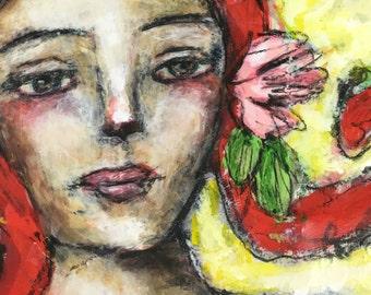 roberta, mixed media folk art by mystele