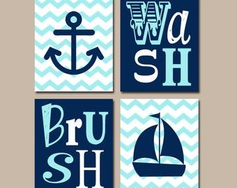 Anchor Sailboat BATHROOM Wall Art  CANVAS Or Print  Nautical Ocean Bathroom  Artwork  Navy