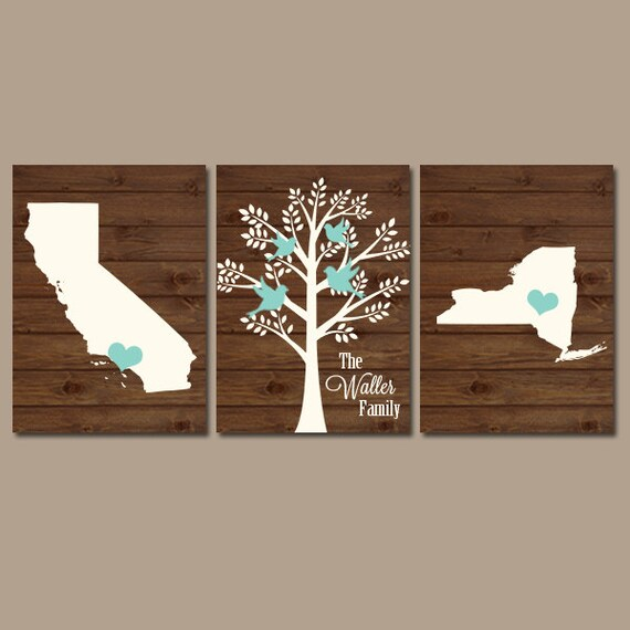 Diy Wall Art Name : Two states family tree canvas or prints personalized wall art