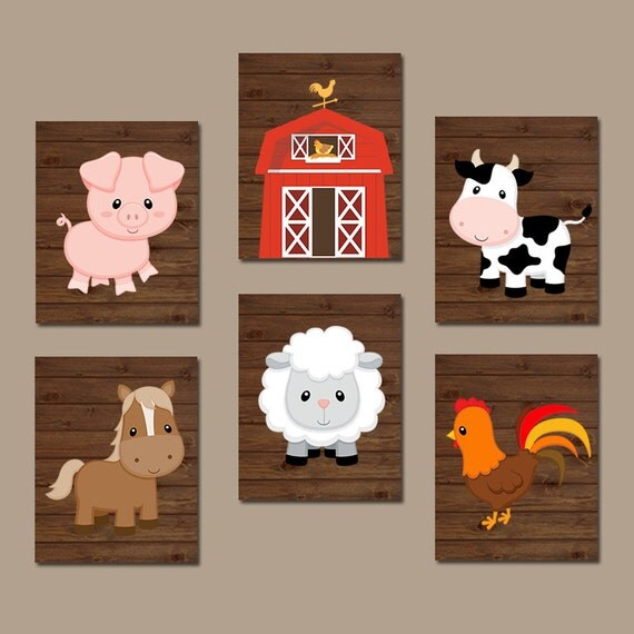 Farm animals wall art canvas or prints farm nursery decor for Barnyard wall mural