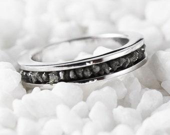 Diamond Wedding Band 14k White Gold Bridal Sets Grey Uncut Rough Diamonds