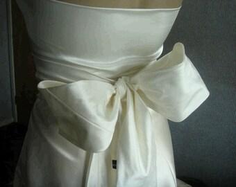 Ivory  bridal silk wedding sash belt dupioni silk prom evening obi sash belt cummerband