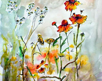 Wildflowers Jewels of Nature Watercolor and Ink Original Painting by Ginette Callaway