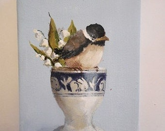 Bird Eggcup painting original still life Chickadee baby antique Dedham pottery lily of the valley Spring