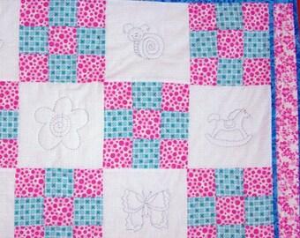 Heirloom baby quilt checkerboard animals