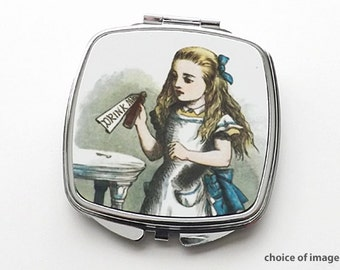 Alice pocket COMPACT MIRROR party favor stocking stuffer hostess gifts for her fantasy drink me mad hatter cheshire cat geek