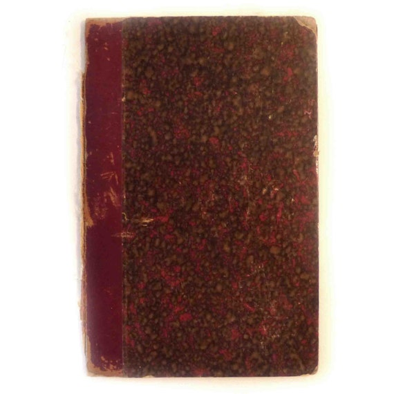 Antique Book Cover Paper : Antique red leather marbled paper book cover board
