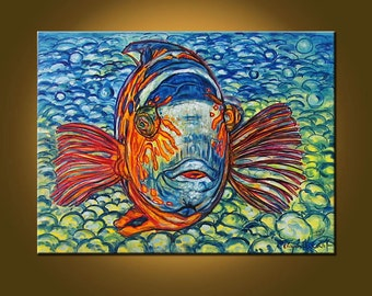 Flasher Wrasse -- 18 x 24 inch Original Oil Painting by Elizabeth Graf on Etsy -- Art Painting, Art & Collectibles