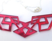 Red Geometric Necklace Transformers Laser Cut Acrylic Perspex on Sterling Silver Chain