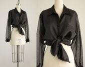 90s Vintage Black Sheer Chiffon Sleeves Collared Shirt / Size Medium