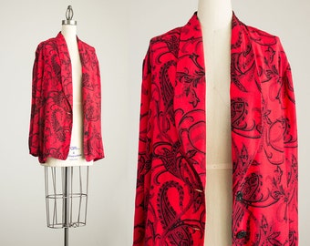 Vintage 90s Red And Black Paisley Print Blazer Jacket / Size Small