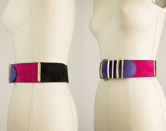 90s Vintage Suede Leather Colorblock Gold Statement Belt / Size Medium