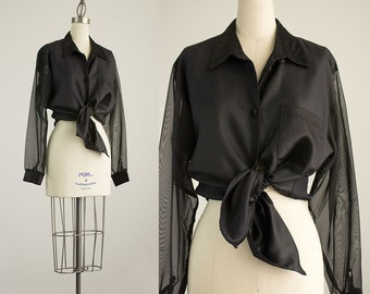 90s Vintage Black Sheer Chiffon Sleeves Collared Shirt / Size Medium